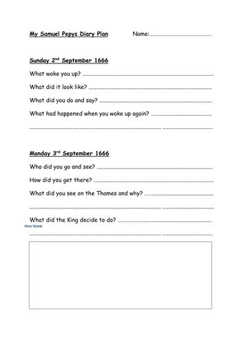 diary writing template ks1 diary entry plan for sam pepys by boondog75 teaching resources tes