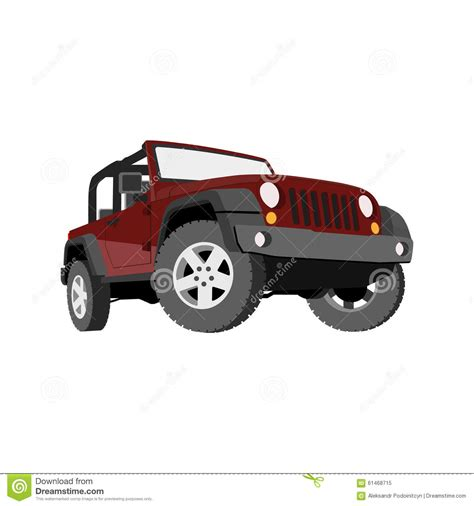 jeep cartoon offroad convertible car off road jeep suv royalty free