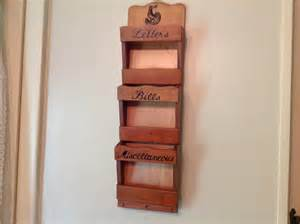 wood wall mail organizer and key holder with decorative