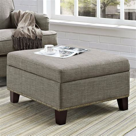 Using An Ottoman As A Coffee Table by Fabric Storage Ottoman Square Coffee Table Tufted Nailhead