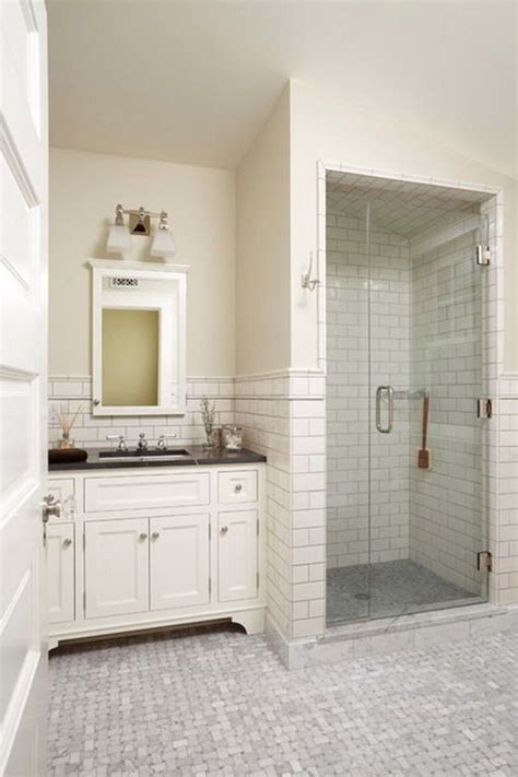 white tile shower ideas small white tiles in classic bathroom love this bathroom esp the shower so simple and