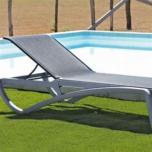 Chaise Longue Piscine : chaise longue piscine aliz grise noire la boutique desjoyaux ~ Preciouscoupons.com Idées de Décoration