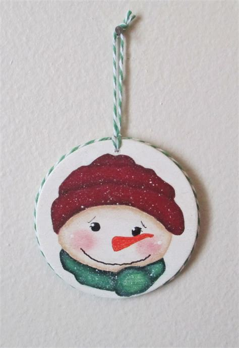 snowman   wood disc christmas crafts christmas