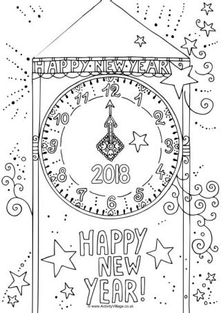 year colouring pages
