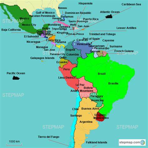stepmap latin america map landkarte fuer world