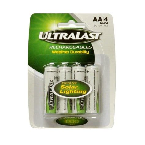 ultralast solar light nicd aa 1 2v batteries uln4aasl