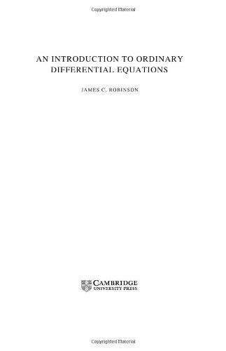 An Introduction to Ordinary Differential Equations by James Robinson