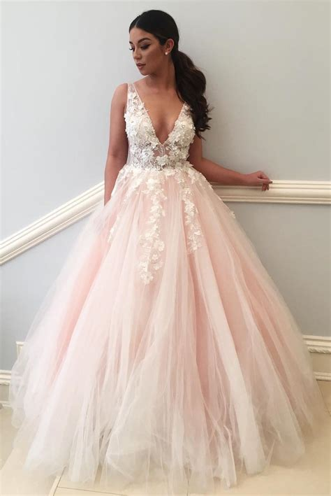 Princess V Neck Pink And White Long Prom Dress