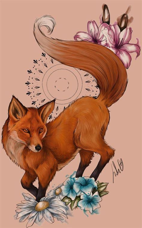 colorful fox  purple  blue flowers tattoo design tattooimagesbiz