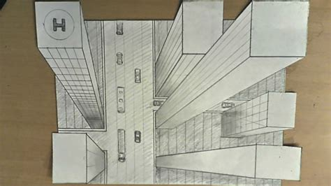 How to draw - one point perspective, 3d illusion, high