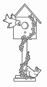 Coloring Birdhouse Bird Template Pages Popular Sketch Coloringhome sketch template