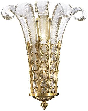 art deco plume glass sconce  french gold finish house  antique hardware