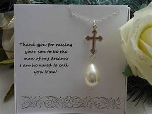 mother of the groom gift silver cross pearl necklace With mom gifts for wedding