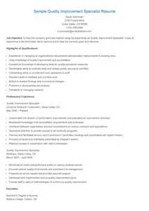 quality specialist resume resume sles sle quality improvement specialist resume