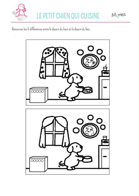 jeux de de cuisine jeu des 5 erreurs le petit chien qui cuisine momes