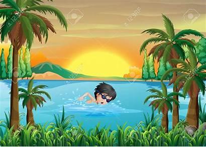 Lake Clipart Illustration River Playing Near Swimming