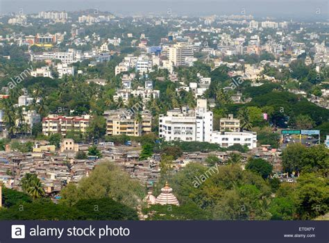 Aerial view of slum and fast growing Pune city from