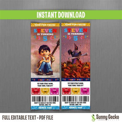 disney coco birthday ticket invitations instant