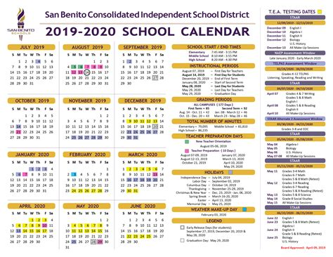 school calendar district san benito consolidated independent school