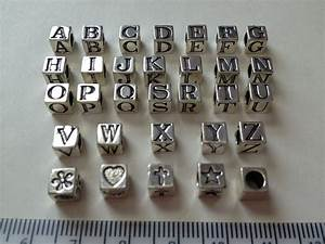 sterling silver alphabet letter cube beads 55mm cube bead With sterling silver alphabet letter beads