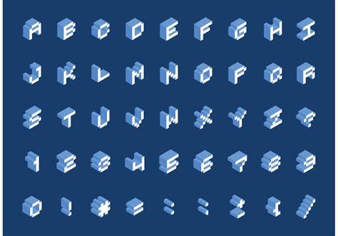 isometric pixel font vector   vector