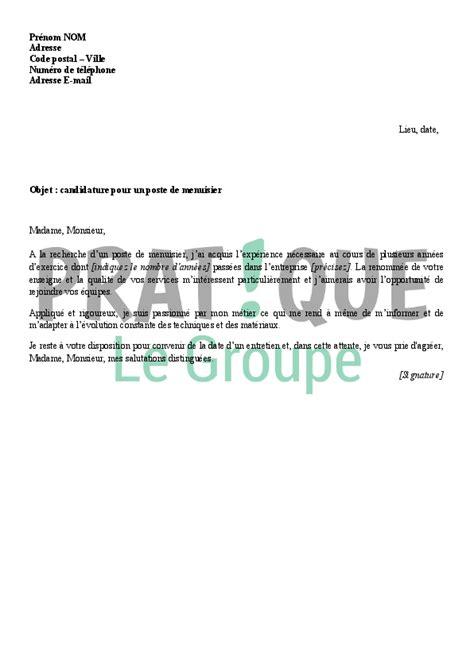lettre de motivation de cuisine lettre de motivation pour un emploi de menuisier pratique fr