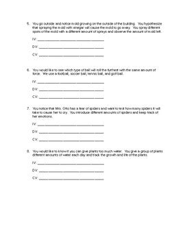 science variables worksheet independent dependent and controls