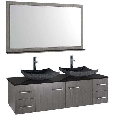 bianca  wall mounted double bathroom vanity gray oak