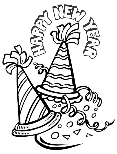 colors for new years happy new year hat coloring pages coloring home