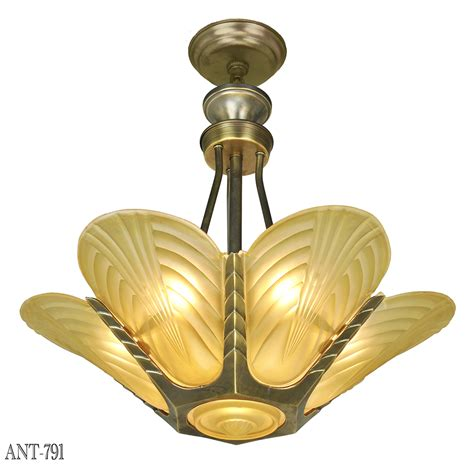 antique art deco ls french deco slip shade chandelier streamline ceiling light