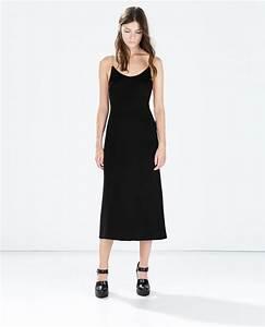 robe mi longue zara noire bretelles fines la robe longue With robe a bretelle mi longue