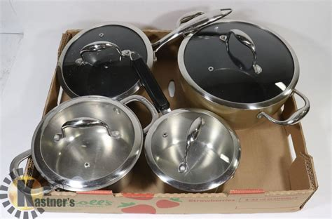 flat   lagostina pots  lids kastner auctions