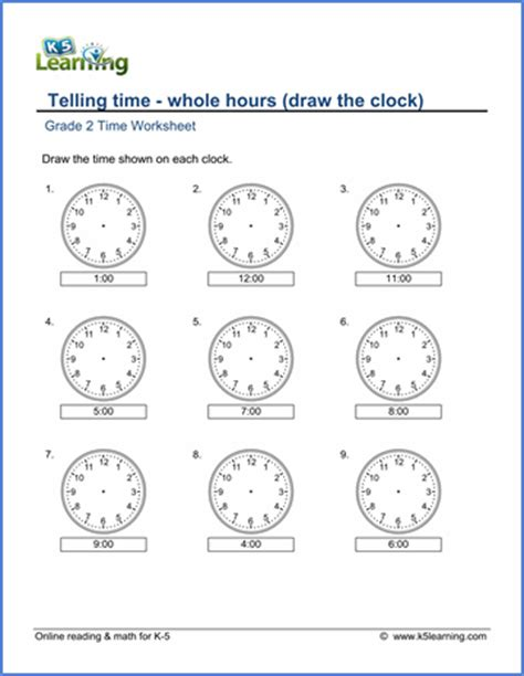 grade 2 telling time worksheets drawing a clock whole