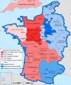 Multi-coloured map of 12th-century France and southern ...