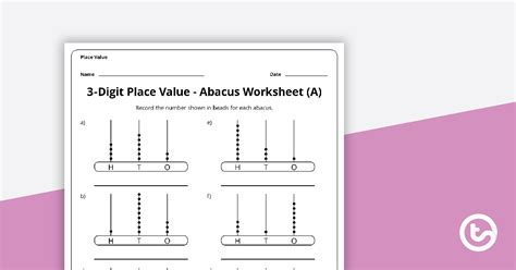 digit abacus worksheets teaching resource teach starter