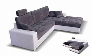 canape d39angle a droite convertible mondo blanc microfibre With petit canapé convertible avec tapis salon moderne