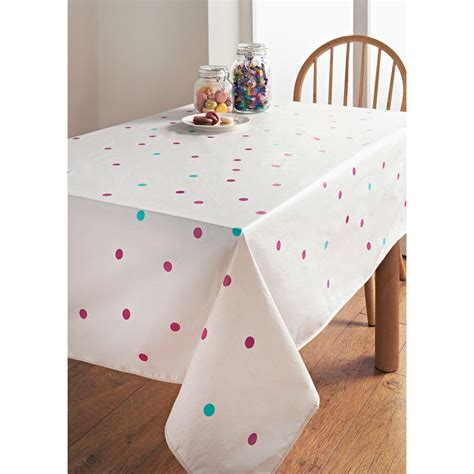 wipe clean table cloth pvc wipe clean tablecloth polka dots kitchen b m