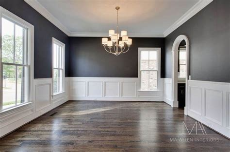 dining room painted wood paneling modern neutral colour