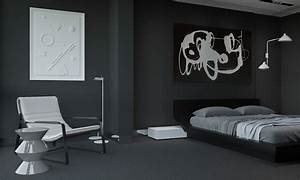 Masculine, Black, Bedroom, Interior, Design