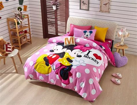 Mickey And Minnie Mouse Polka Dot Print Bedding Set