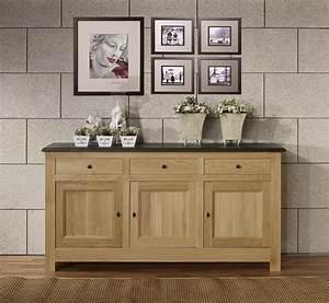 Buffet Bois Et Noir : buffet 3 portes en ch ne massif de style campagnard ~ Melissatoandfro.com Idées de Décoration