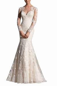 Kissbridal women39s long sleeve applique mermaid wedding for Amazon cheap wedding dresses