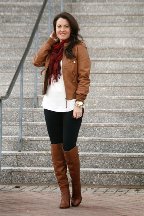 Brown-leather-jacket-and-scarf-outfit - Peaches In A Pod