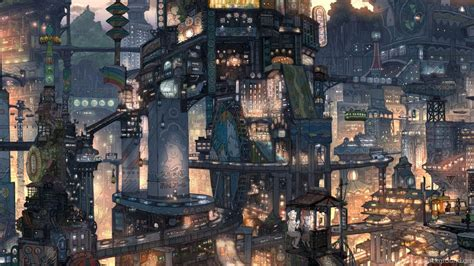wallpapers anime city    dual monitor