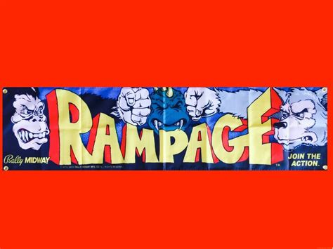 Large Rampage Arcade Video Game Banner Flag Poster Ebay