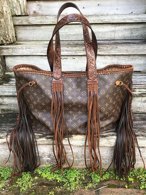 vintage swag vintage fringed louis vuitton neverfull gm wind river handbag  custom hand