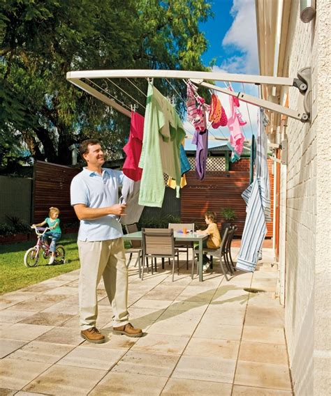 clothes line wall mounted drying clothesline folding fold lines supa frame rack hills clotheslines washing laundry single mono outdoor dryer