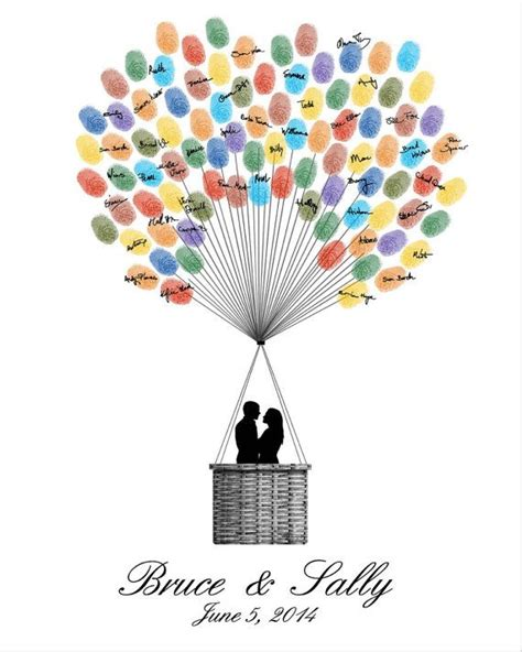 wedding guest book hot air balloon personalized