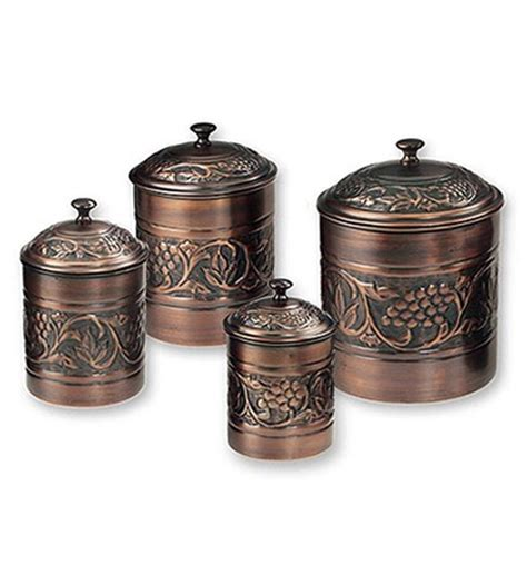 what to put in kitchen canisters kitchen canister set antique copper set of 4 in kitchen canisters
