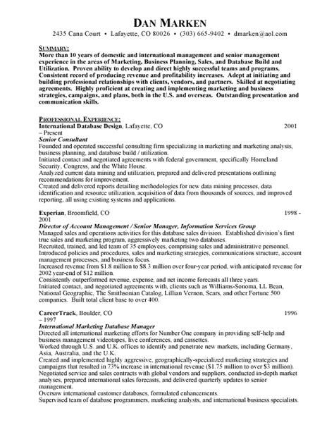 Senior Consultant Resume Exles by Executive Resumes Free Resumes